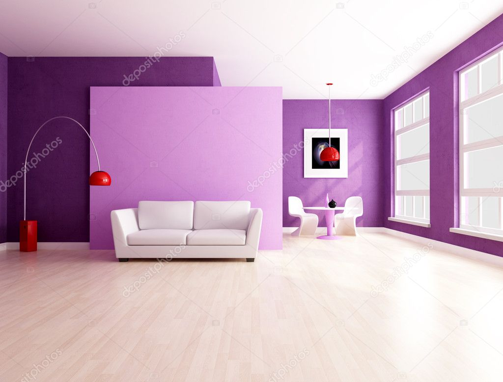 Purple and lilla living room with dining space - rendering  Stock Photo #4903921