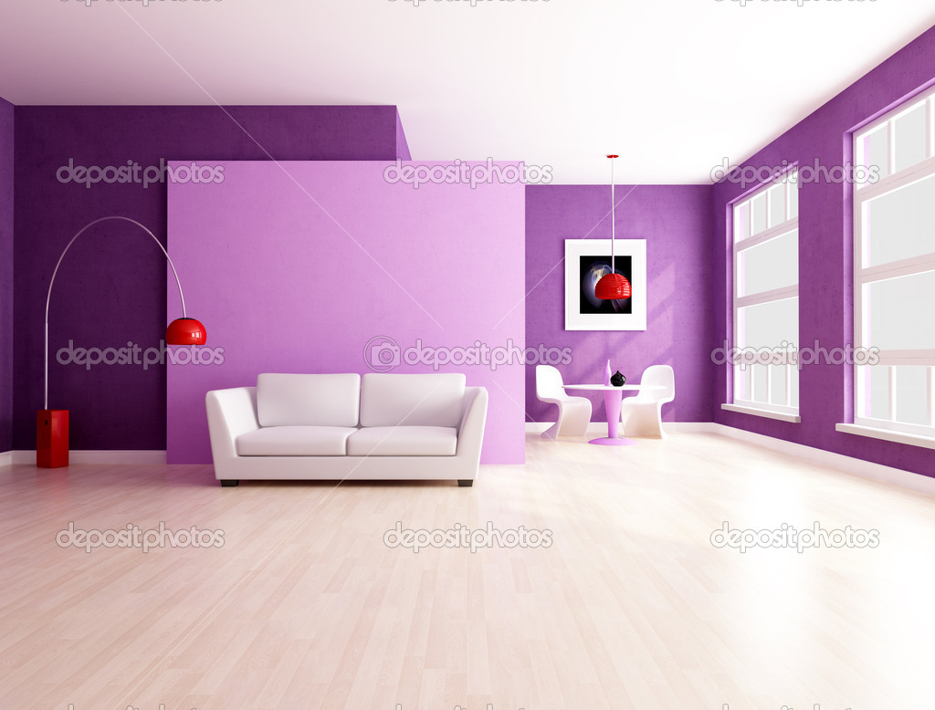 Paars en lilla woonkamer met open ruimte - weergave — Stockfoto ...