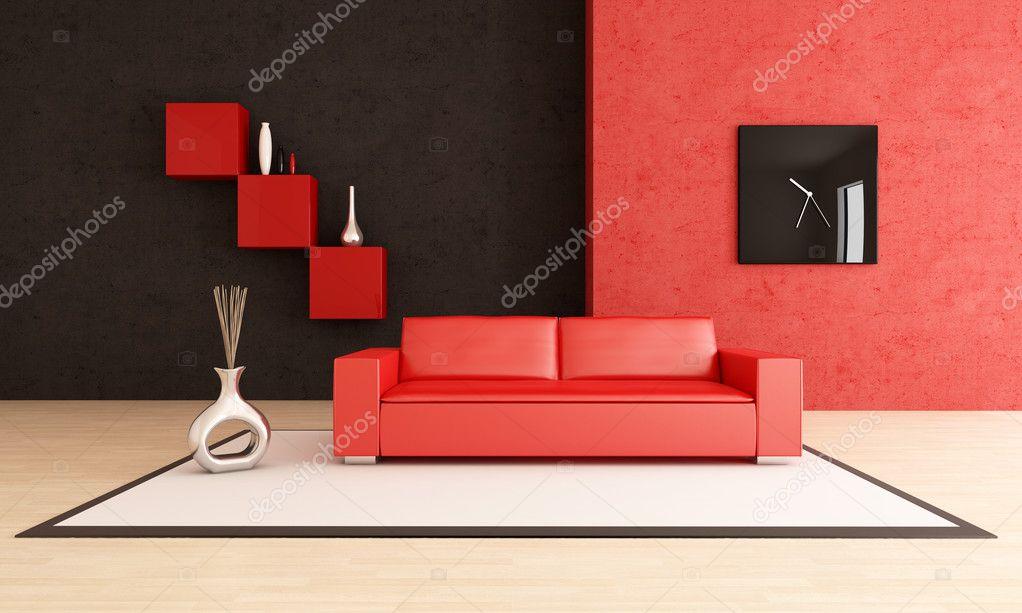Moderno salotto rosso e nero — Foto Stock © archideaphoto #4904060