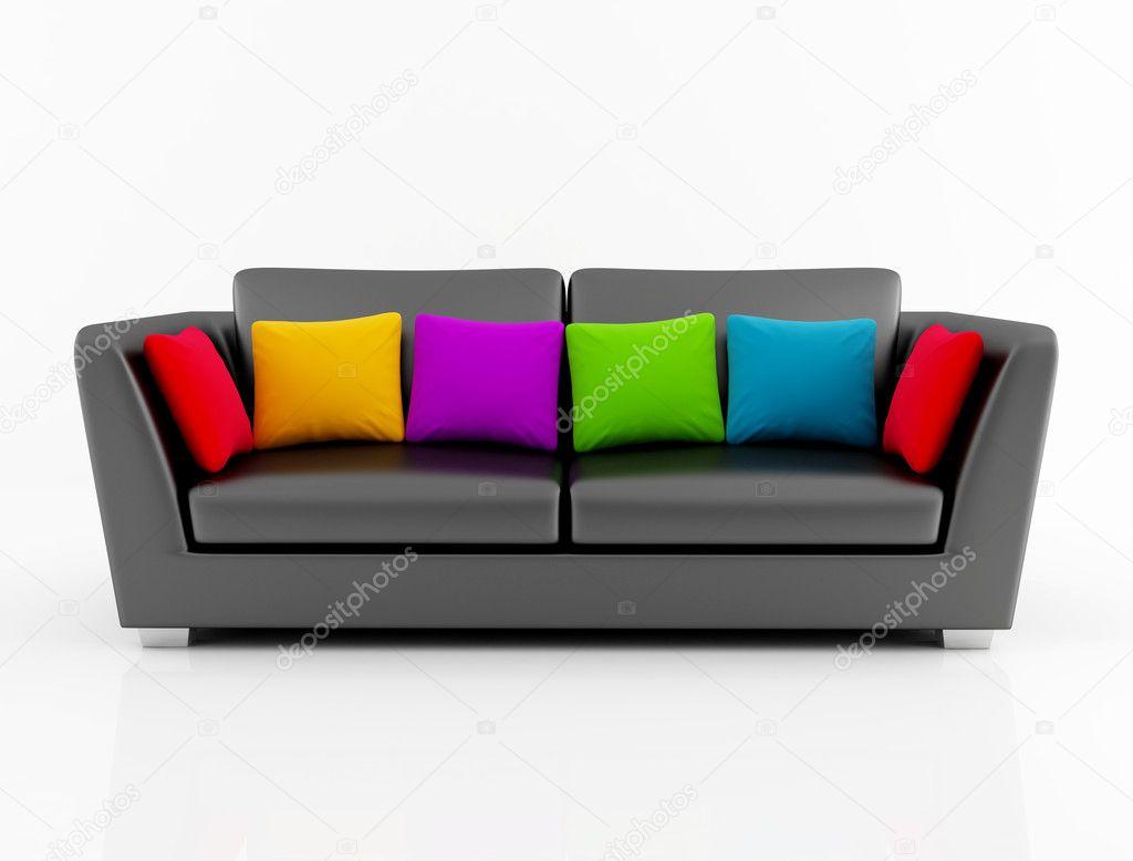 Isolted nero divano con cuscini colorati foto stock for Divano colorato