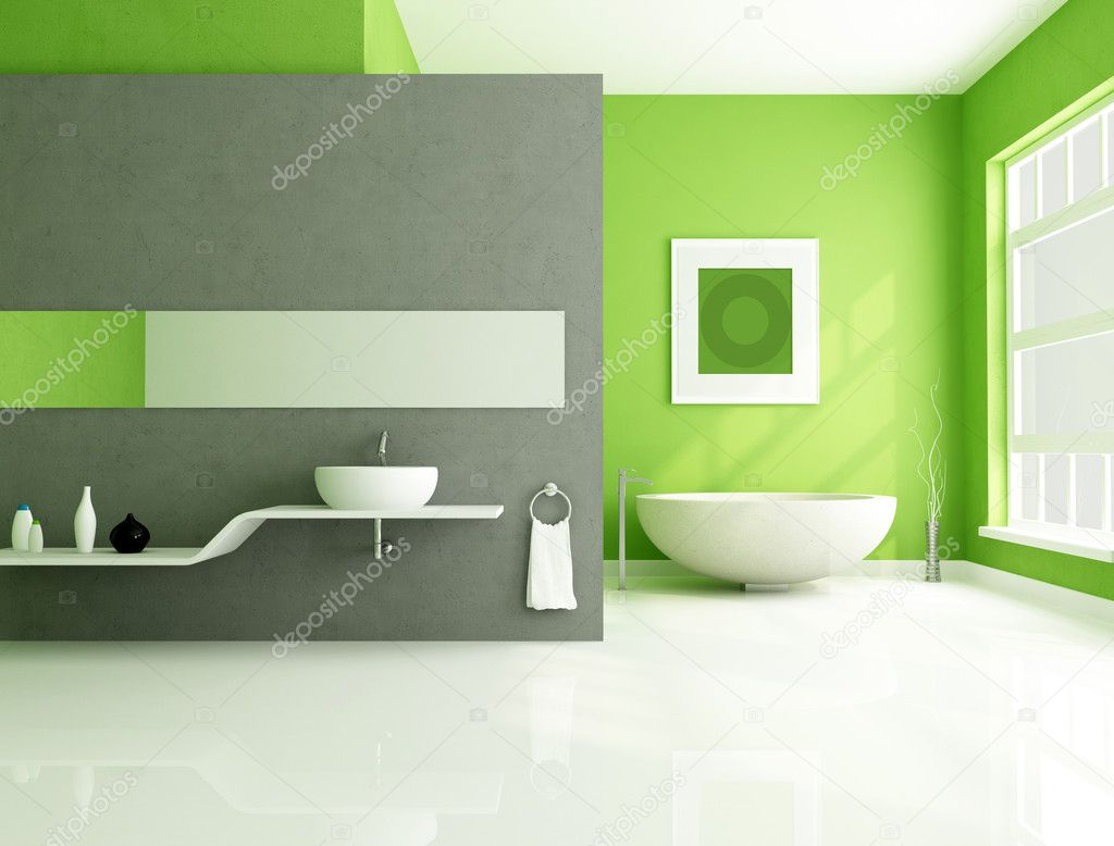 Contemporary bathroom with sandstone bathtub and white sink-rendering — Stock Photo #4908015