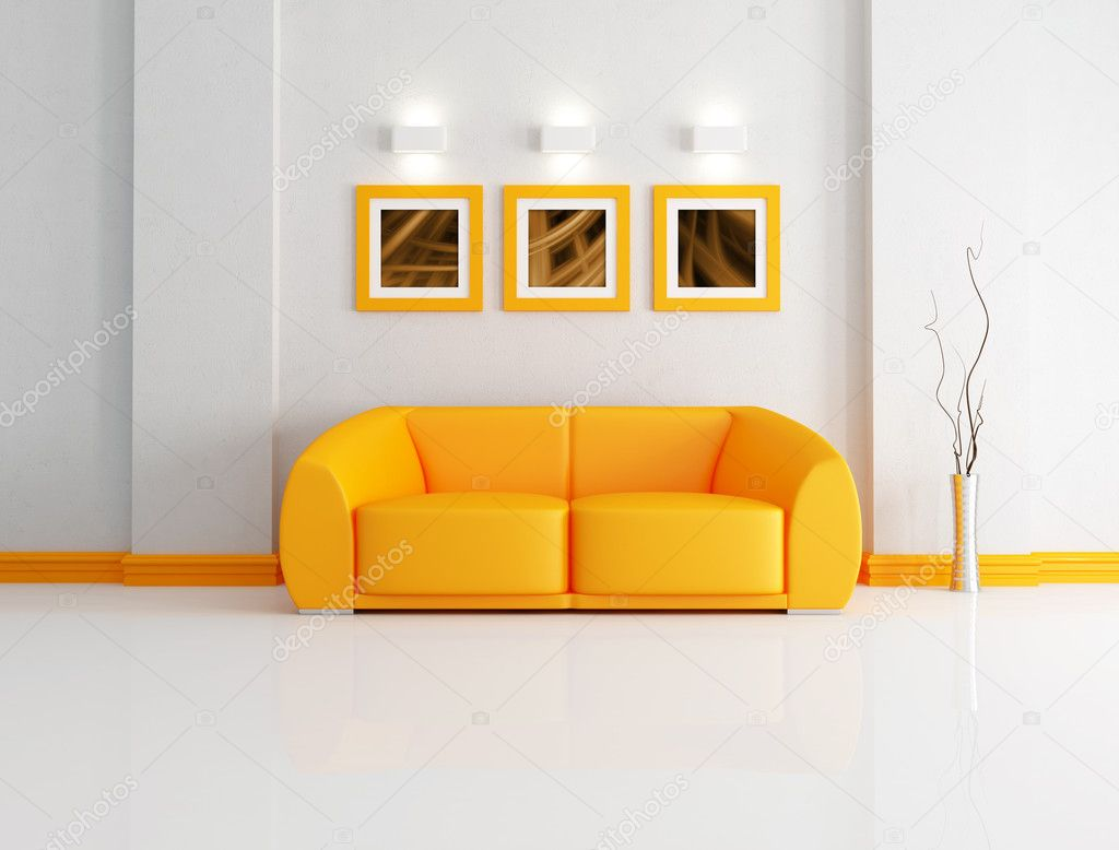 Orange modern sofa in a white living room-rendering- the art pictures on wall are my composition  Stock Photo #4908085