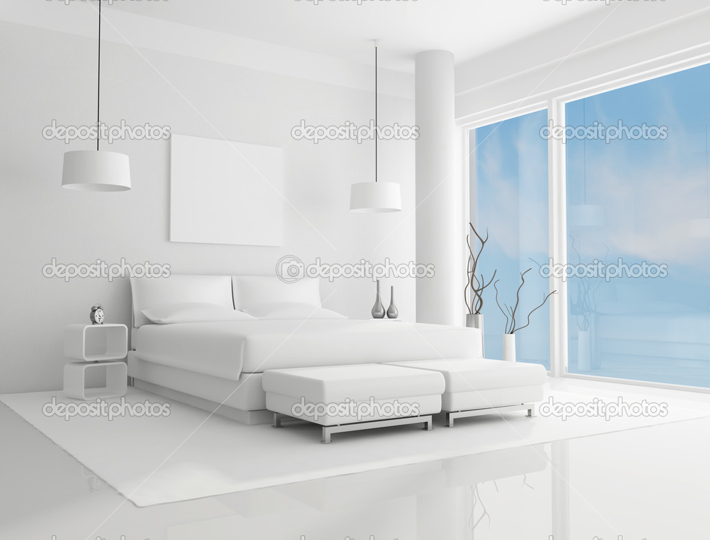 pure white bedroom with blue sky on background rendering photo by archideaphoto bedroom white