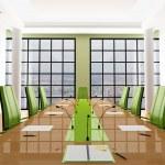 Green meeting room — Stock Photo