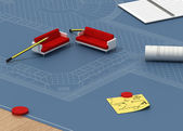Three-dimensional architectural planning — Stock Photo