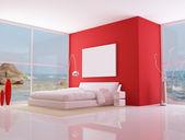 Rode minimalistische slaapkamer, — Stockfoto