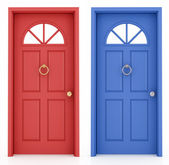 Red and blue entrance door — Stock Photo