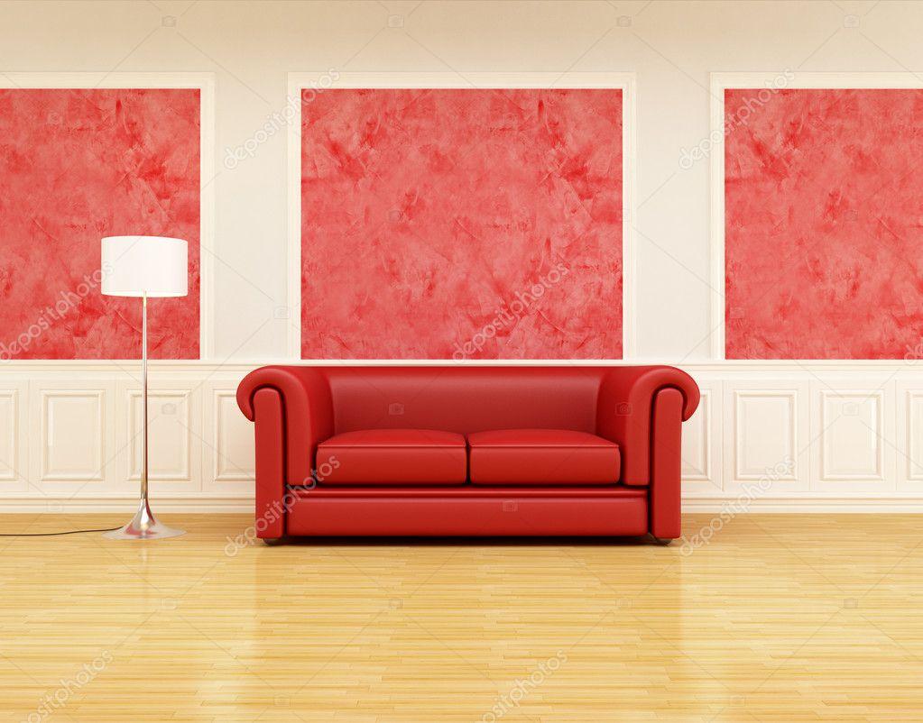 Rode klassieke bank in een retro interieur stockfoto archideaphoto 4929464 - Klassieke bank ...