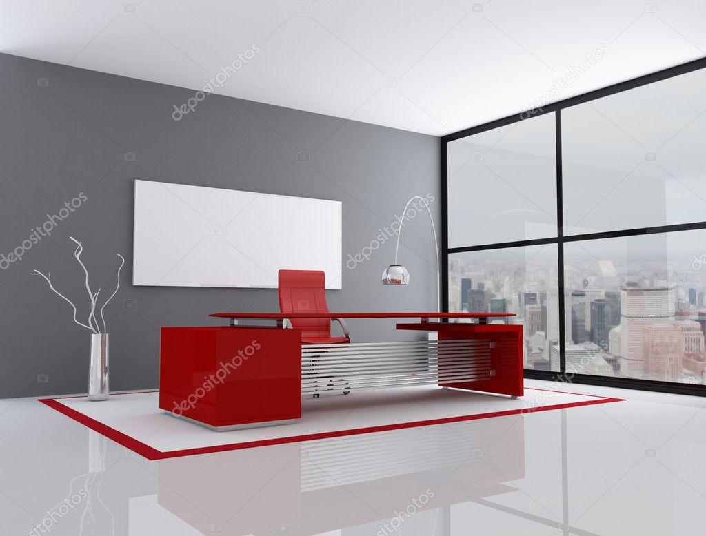 Oficina de la ciudad gris y rojo foto de stock for Decorer son bureau professionnel