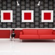 Classic interior with modern red couch — Stock Photo