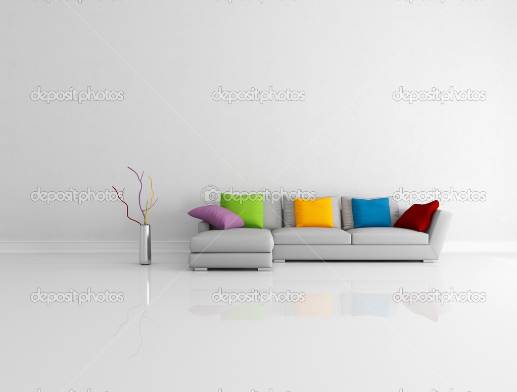 Ljusa färgade minimalistisk vardagsrum — stockfotografi ...
