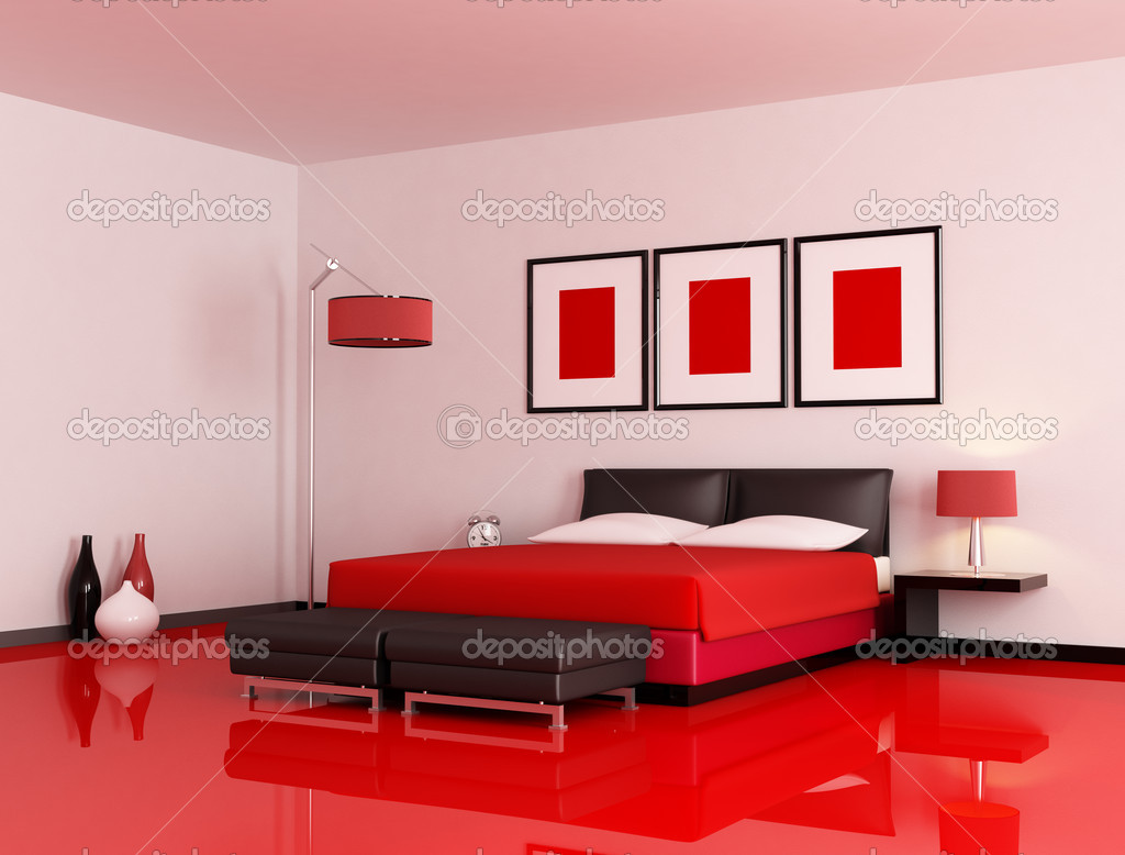 Modern red and black bedroom stock photo archideaphoto for Chambre noir et rouge