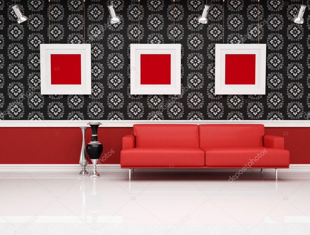 Klassische einrichtung mit modernen rote couch — stockfoto ...