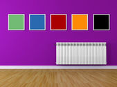 Colored interio with frame and radiator — Stock Photo