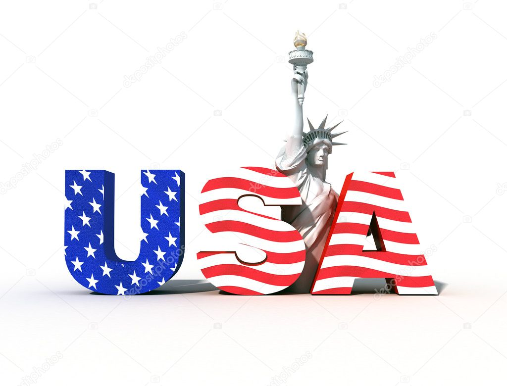 Usa logo with statue of liberty- digital art work — Stock Photo #4940654