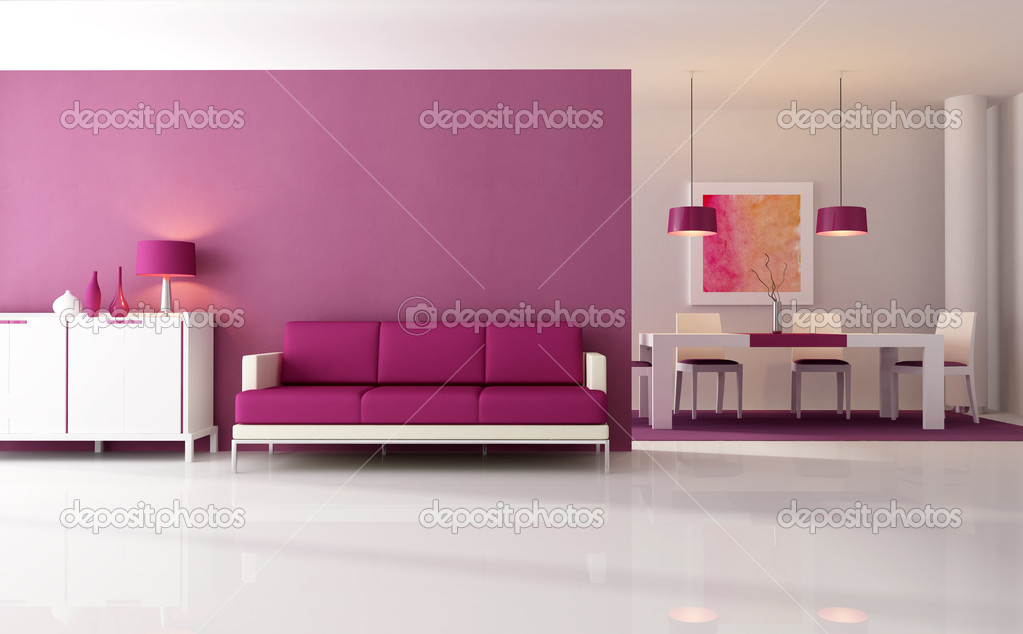 Contemporary living room with dining space - rendering - the art work on wall is a my composition  Zdjcie stockowe #4946755