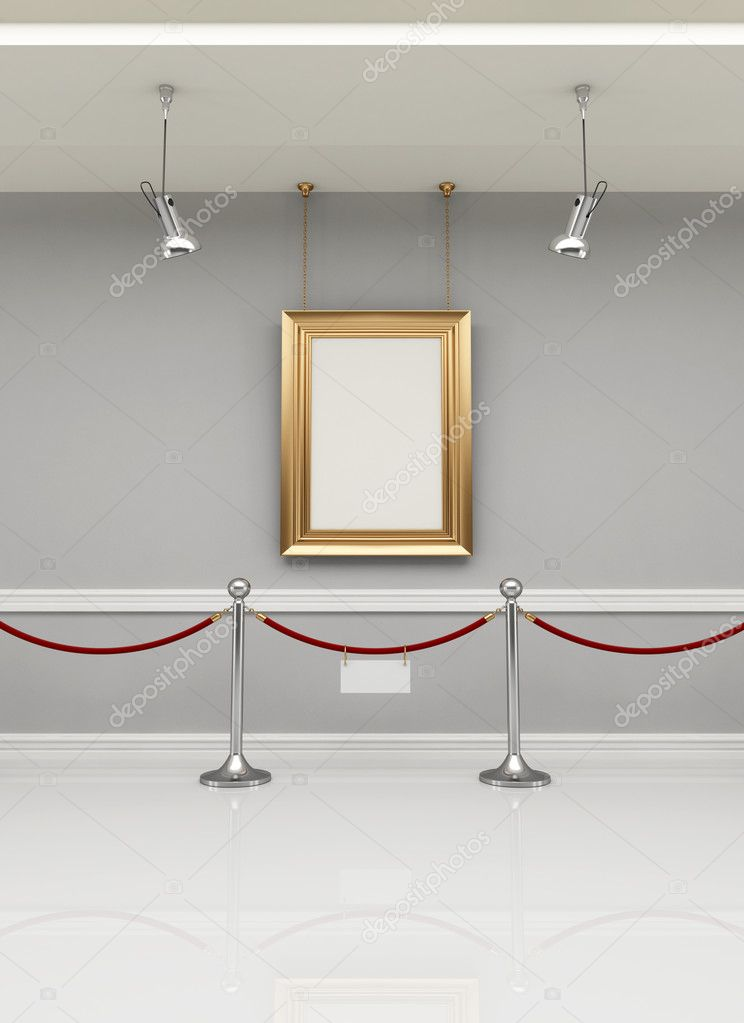 Golden empty frame in a museum with barrier rope - rendering — Stock Photo #4946825