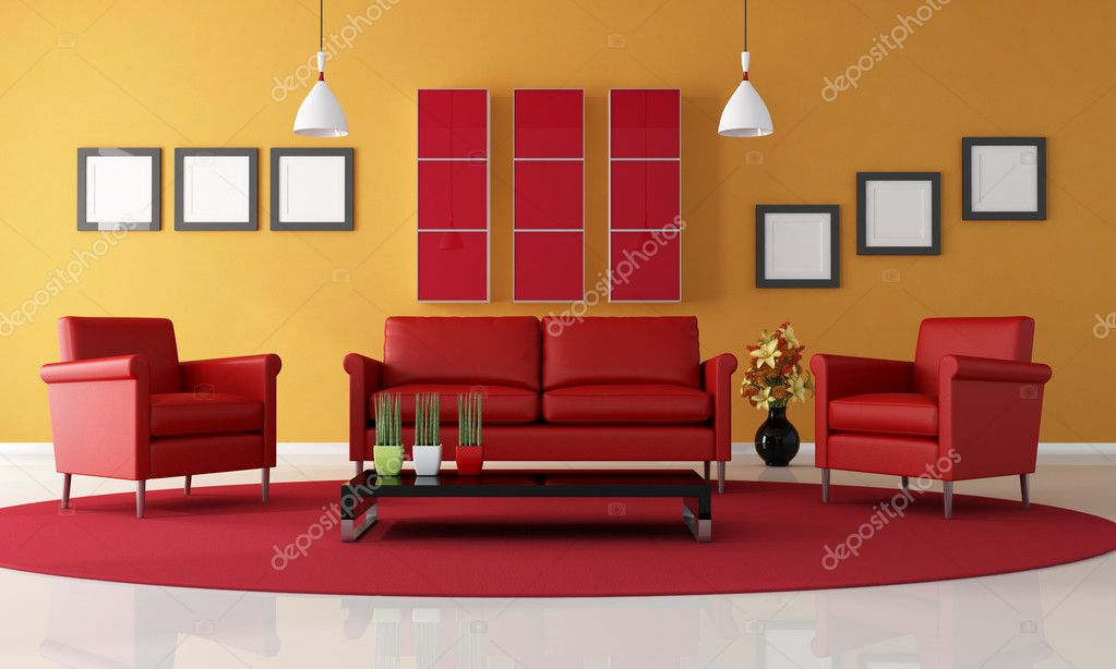 Red And Orange Living Room Stock Photo Archideaphoto 4946880
