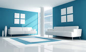 Blue modern living room — Stock Photo