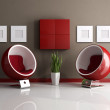 Red and brown modern interior — Stock Photo