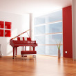 Red and white music room — Stock Photo #4965115