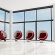 Four red fashion armchair — Stockfoto