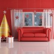 Waiting for christmas day in red room — Stock Photo
