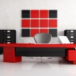 Red and black modern office — Stock Photo