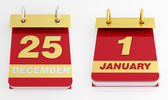 Golden silver and red holyday calendar — Stock Photo
