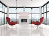 Minimalist lwhite lounge — Stock Photo