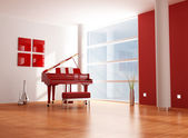 Red and white music room — Stock Photo