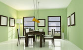 Contemporary green dining room — Stock Photo