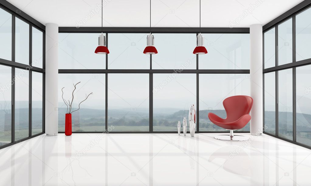 Red armchair in a glass house - rendering , the image on background is a my photo  Stock Photo #4965114