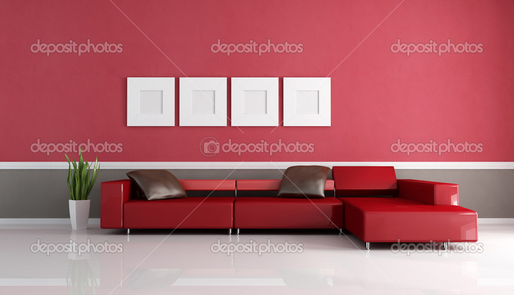 Contemporary couch in minimalist lounge stock photo for Minimalist lounge