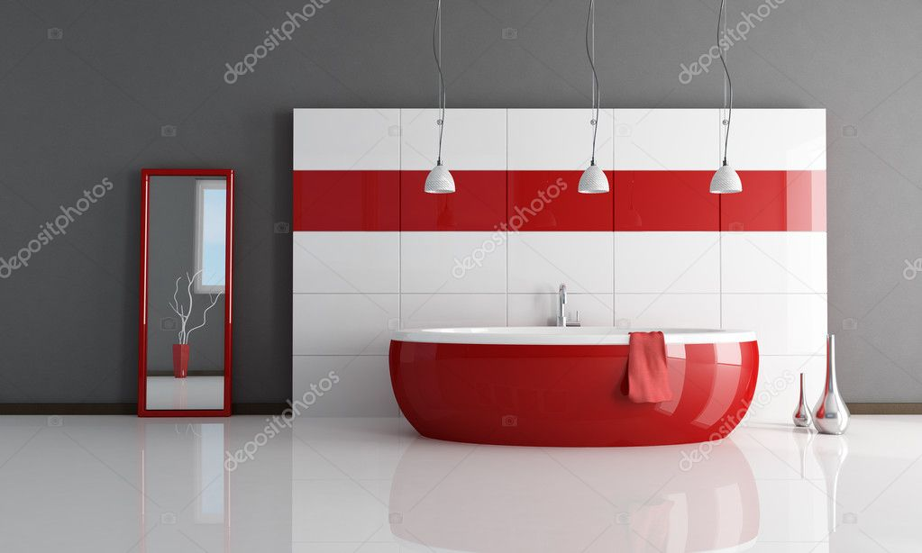 Fashion Red And White Bathroom Stock Photo