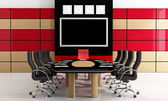 Black and red meeting room — Stock Photo