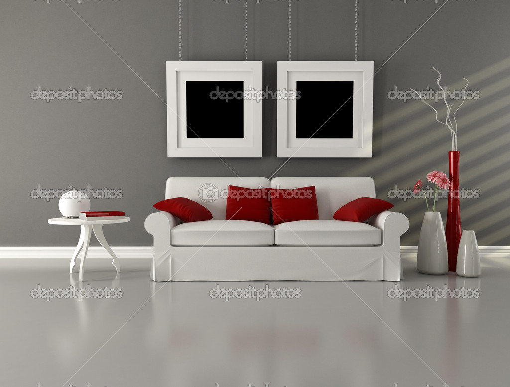 Gray white and red minimalist living room stock photo for White minimalist living room