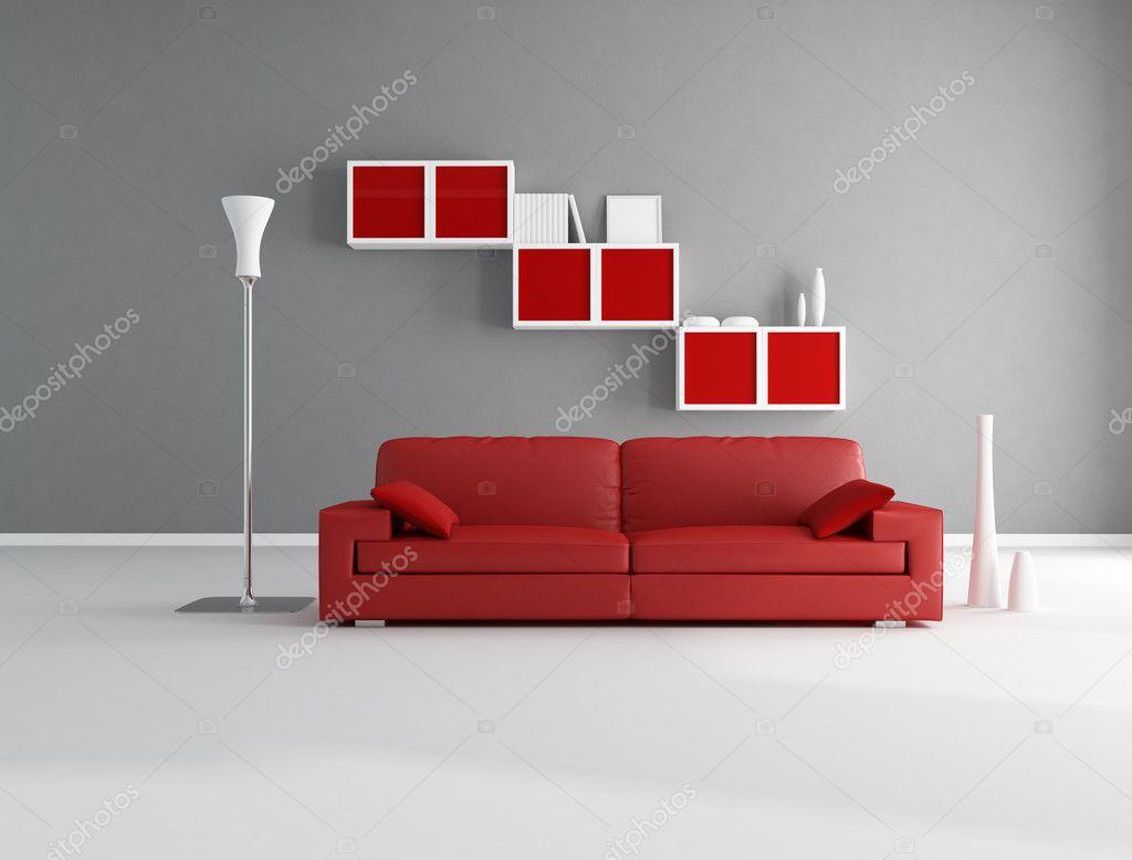 Rood en grijze lounge — Stockfoto © archideaphoto #4971194