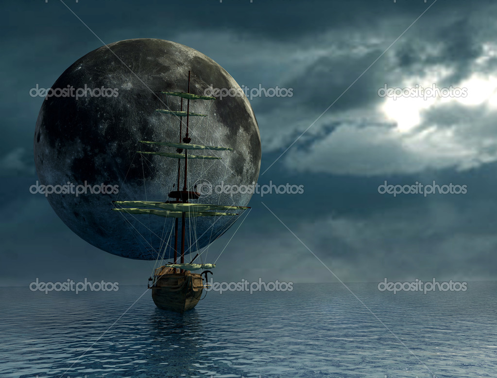 Old ship over the ocean and the moon - digital artwork  Stock Photo #4971554