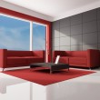Red brown and white living room — Stock Photo