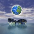 The birth of a new globe over the ocean — Stock Photo #4989152