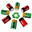 Rechargeable batterys and recycling symbol — Stock Photo