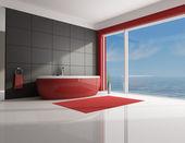 Minimalistisk röda och bruna badrum — Stockfoto