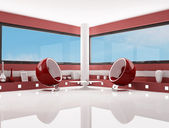 Red and white fashion lounge — Stockfoto