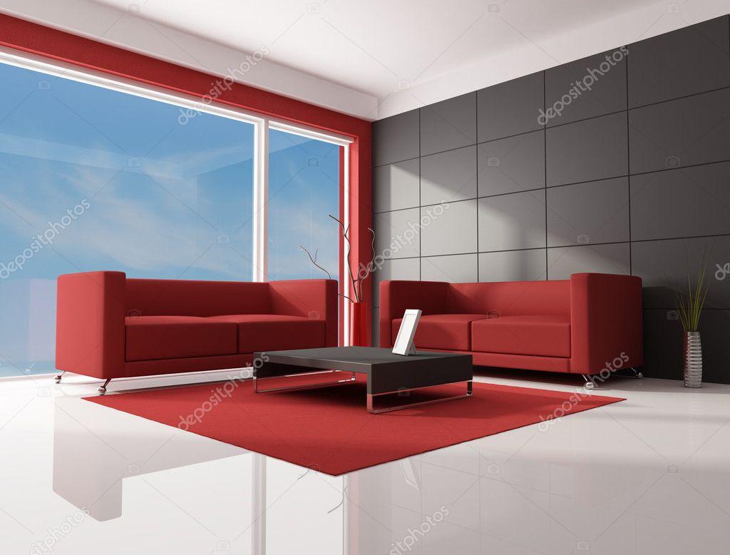 Salon rouge brun et blanc — photographie archideaphoto © #4987414