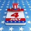 Stock Photo: Fourh of july calendar on starry background