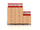 Wooden file drawer with red ring binders — Stock Photo