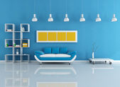 Blue modern interior — Stock Photo