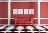Red classic living room — Stock Photo