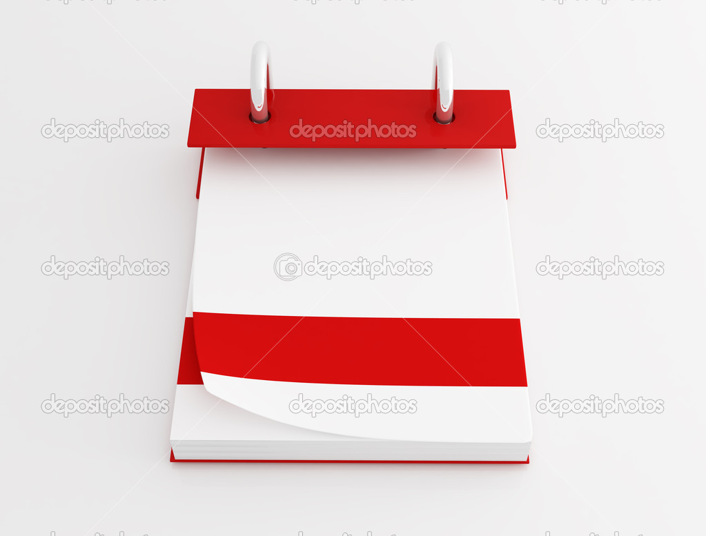 Blank binder desktop calendar on white background-rendering — Stock Photo #5010498